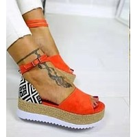 Women's wedge heel platform woven espadrilles sandals
