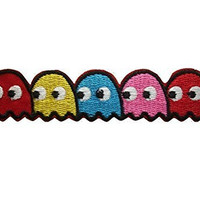 Pac-man ghosts Blinky Pinky Inky Clyde Embroidered Iron On / Sew On Patch - Pac-man