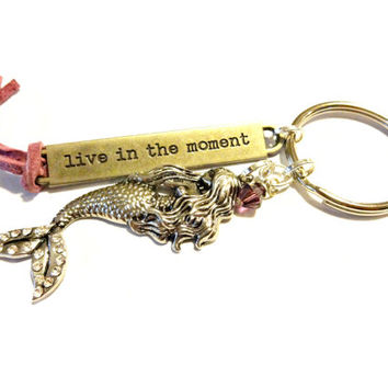 Pretty Mermaid Keychain With Swarovski Crystal, Live In The Moment Inspirational Gift, Soft Pink Suede Key Ring, Gift For Her, Gift Under 20