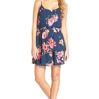 Junior Women's Everly Floral Print Strap Back Skater Dress,