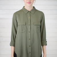 Military Style Button Up Top