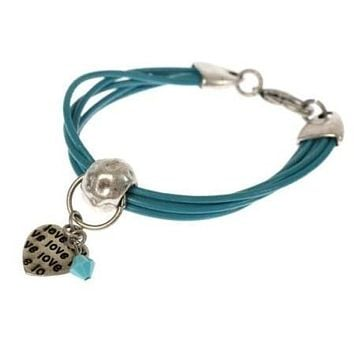 Silver And Leather String Love Bracelet