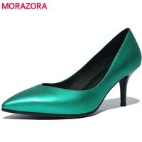MORAZORA Office lady sexy fashion single shoes genuine leather thin heels shoes 7cm four seasons works shoes solid women pumps
