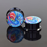 Longbeauty Pair Acrylic Ear Gauges Plugs Flesh Tunnels Expanders Screw Painted Octopus Stretchers Piercing Jewelry 6MM
