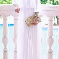 White Gold Beaded Vintage Layered Long Sleeve Loose Flowy Floor Length Maxi Dress