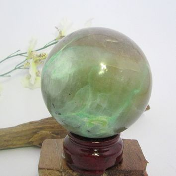 Green Moonstone Sphere & Stand