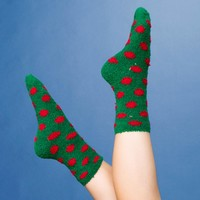 Green and Red Polka Dot Fuzzy Socks