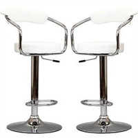 Diner Bar Stools Set of 2 in White - East End Imports EEI-930-WHI