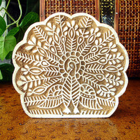 Peacock Stamp: Hand Carved Wood Stamp, Large Indian Wooden Printing Block, Ceramic Tile Pottery Stamp, India Decor