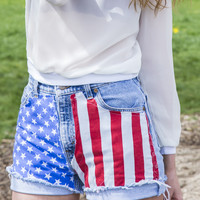 1776 American Flag Glory High-Waisted Denim Shorts