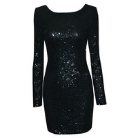 Sexy Backless Long Sleeves Cocktail Dresses 2017 New Fashion Sparkly Sequined Mini Short Evening Party Gowns Vestido De Festa