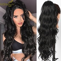 AISI BEAUTY Long Body Wave Ponytail Extension Synthetic Drawstring Ponytail Clip in Hair Extensions for Women Black Blonde Red