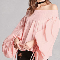 Pintucked Off-the-Shoulder Top