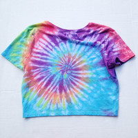 Tie Dyed Crop Top Shirt Rainbow Tye Dye Tumblr Rave Crop Top Size S