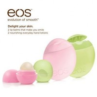eos Lip Balm and Hand Lotion Combination Pack - 2 USDA Organic Smooth Sphere Lip Balms (Strawberry Sorbet &Honeysuckle Honeydew) and 2 97% Natural Hand Lotions (Berry Blossom and Cucumber)
