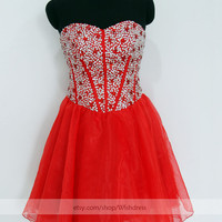 Handmade Sequins Sweetheart Short Prom Dress/ Formal Cocktail Dress/ Formal Party Dress/ Red Homecoming Dress /Sweet 16 Dress By Wishdress