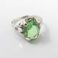 Sterling Silver Peridot Green Ring, Solitaire Light Green Glass Stone, Unique Engagement Promise Ring, Size 6, August Birthstone