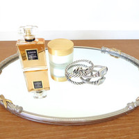 Silver Stylebuilt mirrored vanity tray with gold detailing, 9 x 13 inches