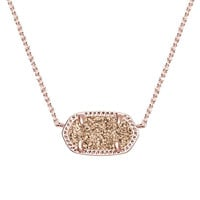 Kendra Scott: Elisa Pendant Necklace in Rose Gold Drusy