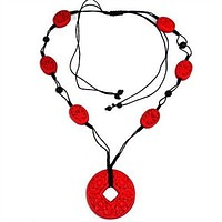 Carved Red Wood Beads on Black Cord Necklace