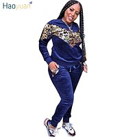 HAOYUAN Thick Velvet Sequin 2 Piece Set Women Tracksuit Hoodies Tops and Pant Casual Outfits Suits Fall Winter Velour Sweatsuit