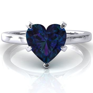 Darci Heart Alexandrite 5 Prong Cathedral Solitaire Engagement Ring