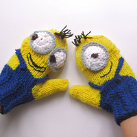 despicable Me (Inspired) Convertible Minion Mittens Gloves-MINION style gloves-Knit minion gloves-Crochet gloves
