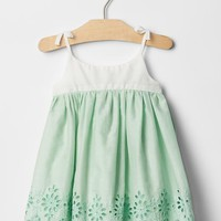 Mix-fabric eyelet dress | Gap