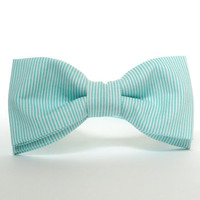 Mint Bow Tie for Men by BartekDesign: pre tied striped lines grooms wedding classic chic handmade gift for him pastel green teal mint
