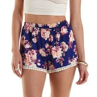 Bright Blue Combo Crochet Trim Floral Print Shorts by Charlotte Russe