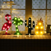 1Pcs/lot Flamingo Led Night Light Cartoon Unicorn Head Pineapple Lantern Christmas Wedding Decoration Tropical Party supplies 171122