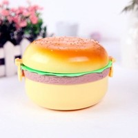 1PC Hamburger Burger Shape Round Japanese Bento Lunch Boxs for Kids Food Containers Sushi Set Lunchbox Plastic Food Box OK 0343
