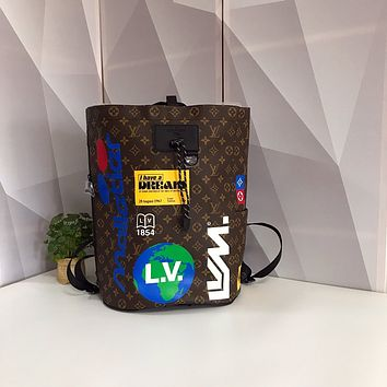 LV Louis Vuitton OFFICE QUALITY MONOGRAM CANVAS ZAINO CHALK BACKPACK BAG