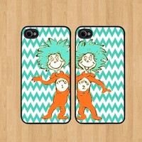 Thing 1 Nebula Best Friends iphone 4 /4S Case Soft Rubber - Set of Two Cases (Black or White ) SHIP FROM CA