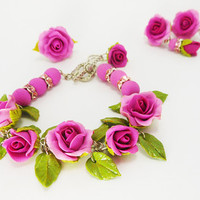 Free shipping / Bracelet Earrings & ring with lilac roses Handmade of polymer clay  Floral Jewelry Set  in romantic style with purple roses