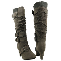 Womens Knee High Boots Leather Knitted Cuff Buckles Low Heel Shoes Gray SZ 5H