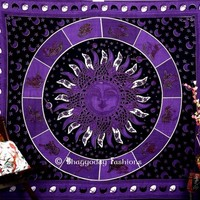 Buy Purple Cotton Twin Psychedelic Sun and Moon Tapestry From India