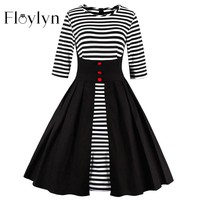 Frederick plus sizes Half Sleeve Spring Autumn Dress S-5XL Plus Size Big Swing 50s Retro Vintage Dresses Patckwork Striped Black Dress