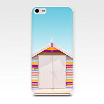 iphone 4 case 4s 5 5s nautical beach photography bathing boxes pastel photo art beach scene cover cell phone case photograph pink blue