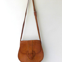 Vintage boho stitched tan leather shoulder bag