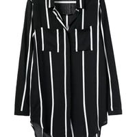 Black Stripe Double Pockets Long Sleeve Blouse