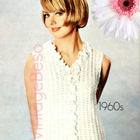 Top KNITTING Pattern Vintage 1960s Summer Top Flower Knitting Pattern Ladies Summer Sleeveless Blouse Sweater Instant Download PDF Pattern