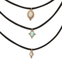 3pieces leather turquoise choker necklace set