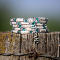 Eat Pray Love Paper Bead Bracelet - Stacking Wrap Bracelet - Memory Wire - Upcycled - Teal