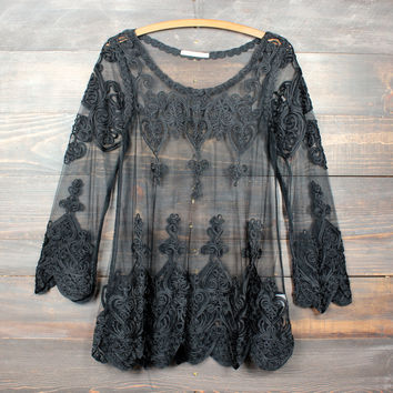 sheer vintage inspired lace tunic - black