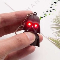 ESBONFI TOMTOSH Free Shipping 2016 Star Wars Keyring Light Black Darth Vader Pendant LED KeyChain For Man Gift
