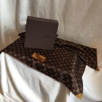 "VERY RARE ** LOUIS VUITTON Brown INVENTEUR 100% Silk Scarf Bandanna, 22"" Sq."