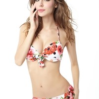 Womens Halter Ethnic Pattern Bikini Stylish Flower Print Swimwear Swimsuit for Summer