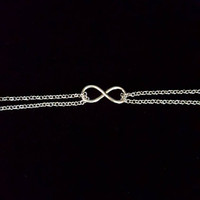 Infinity Double Chain Ankle Bracelet, Silver Anklet.