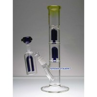 15 Inch Double Blue 4-Arms Percs Straight Flame Glass Bong